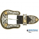 "Buckle - Set ""Silver with Goldflowers"" 1 1/2 inch"